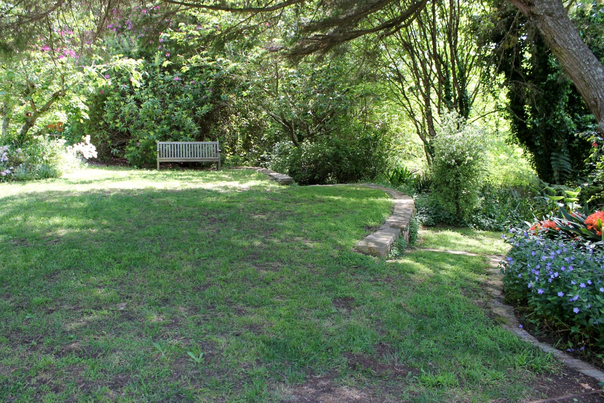 A shaded garden seat.