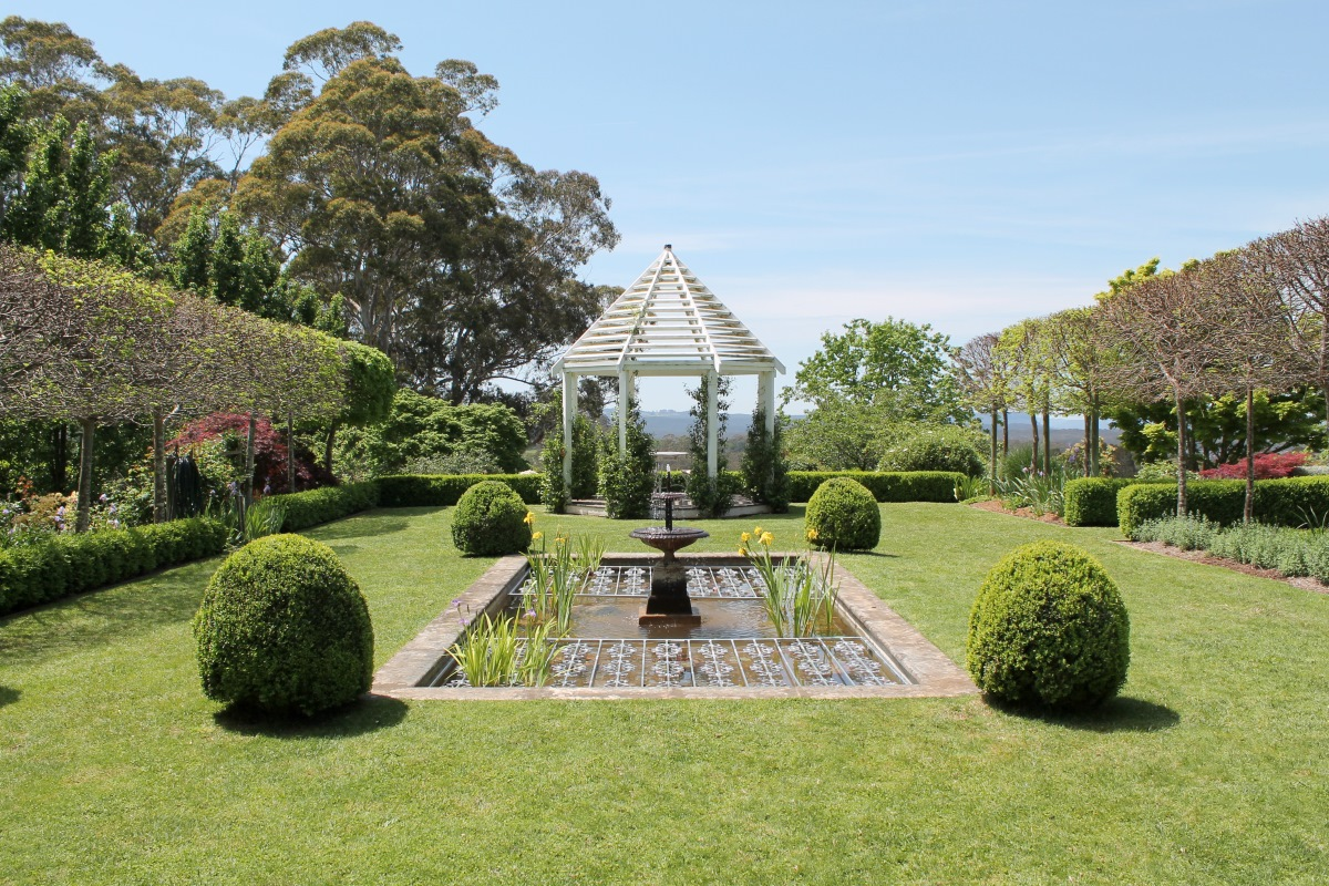 Formal garden and pond.