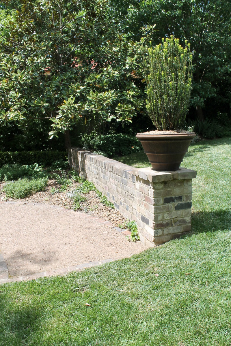 Short garden wall.
